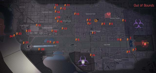 Locations of A Total of 28 Orange Crates in The Division 2